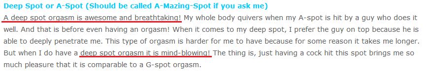 Deep spot orgasm